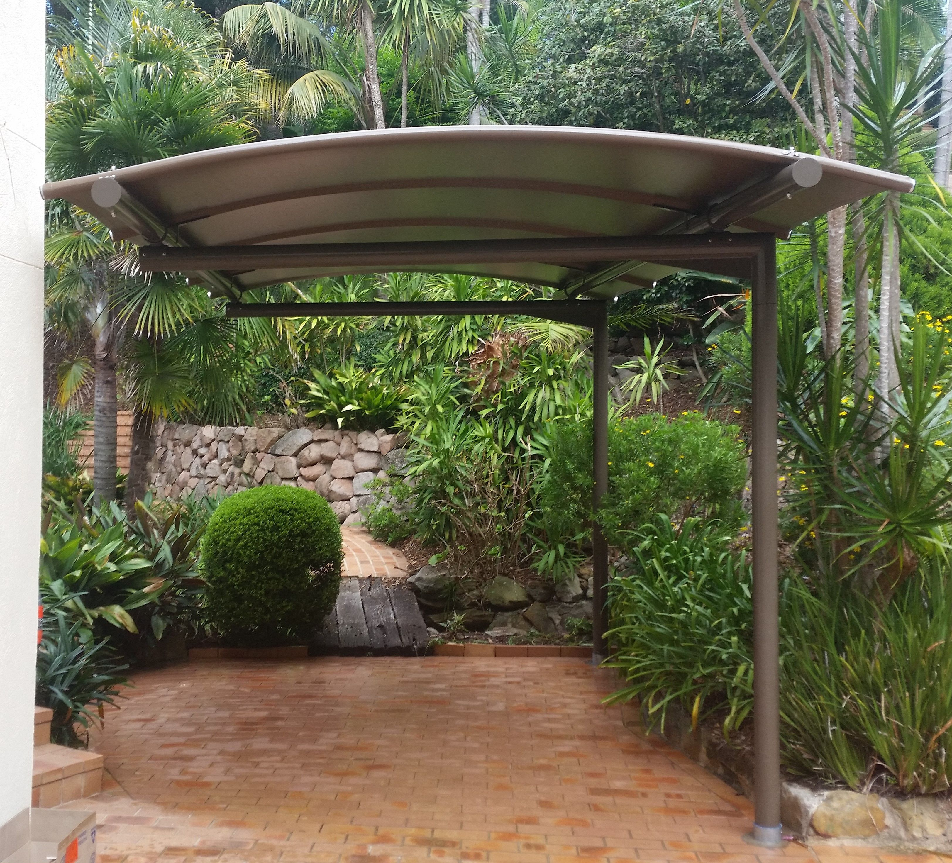A Cantilevered Awning Is The Perfect Solution To This Small Car Space Car Porch Pergola Carport Carport Garage Cantilever Carport