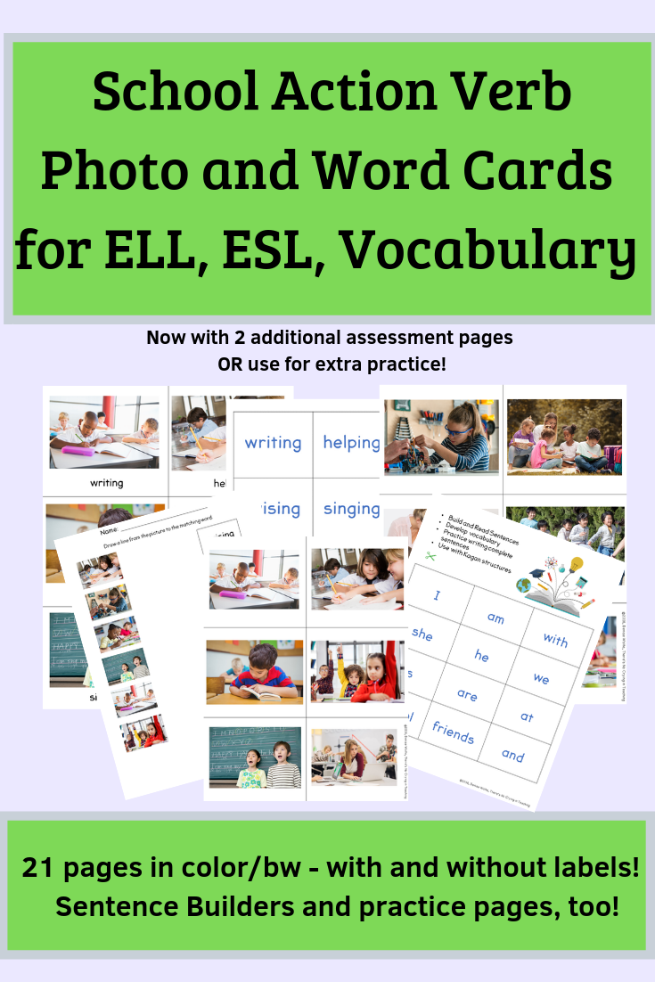 School Action Verb Picture Cards And Activities For Esl And Ells Action Verbs Word Cards Language Arts Elementary [ 1102 x 735 Pixel ]