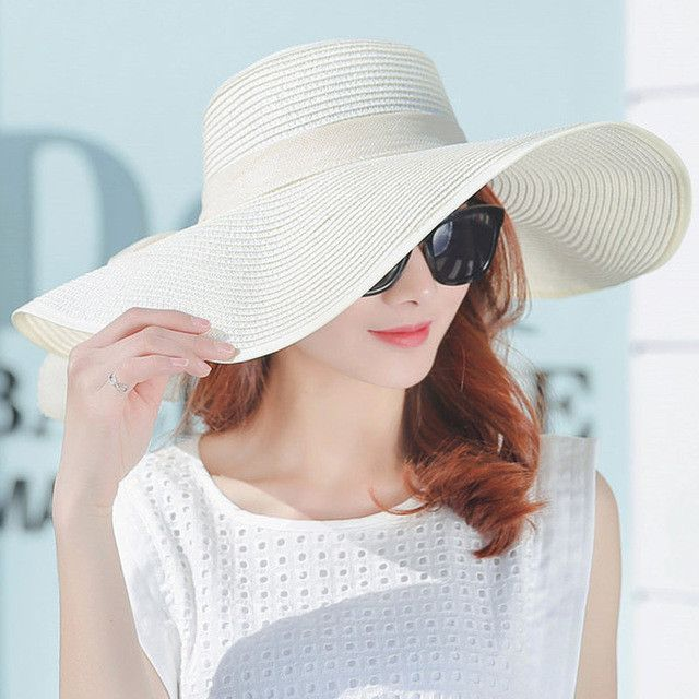 5dc476a20b4e7 Hot Sale Summer Sun Hats For Women Large Brim With Ribbons Bow Beach Hat  Cap Ladies Sun Hat UV Protect Chapeu Feminino