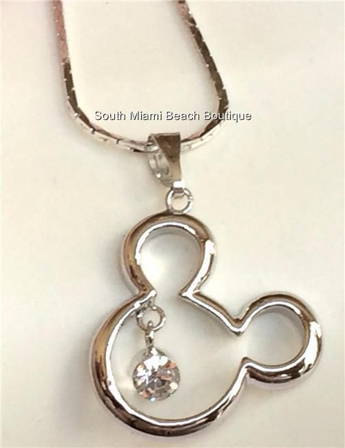 Details About Disney Crystal Mickey Mouse Ears Pendant Necklace 18k