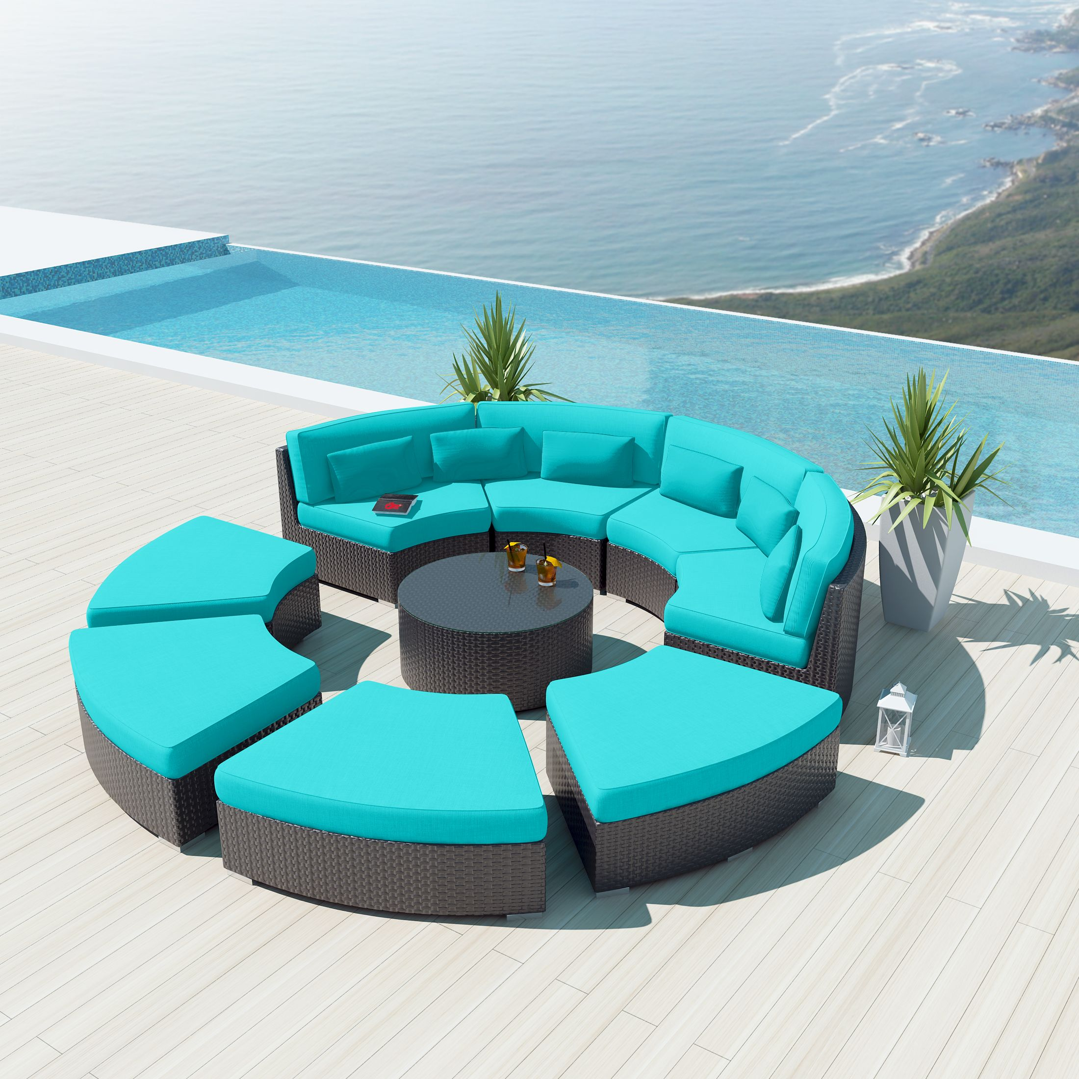 9 Pcs Outdoor Sectional Round Patio Sofa Set
