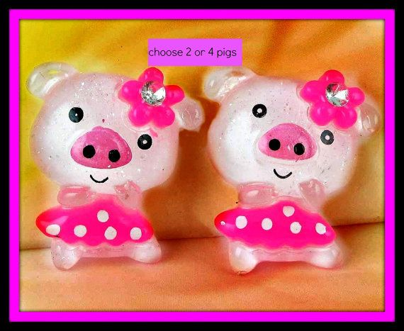 Kawaii Pig Cabochons by angelsandcrafts on Etsy, $1.75