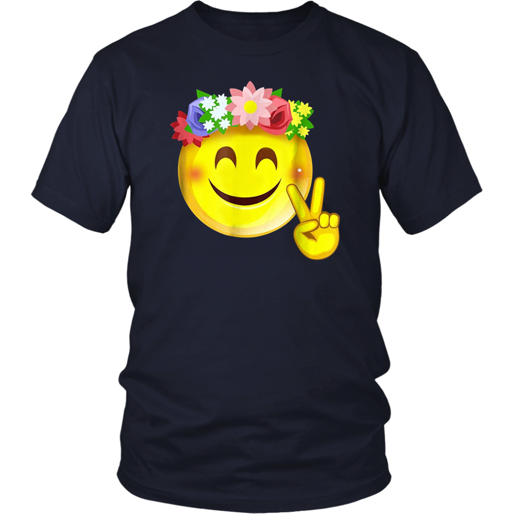 Hippie Flower Power Crown Smiley Peace Sign Emoji T Shirt Peace Sign Emoji Hippie Flowers Flower Power