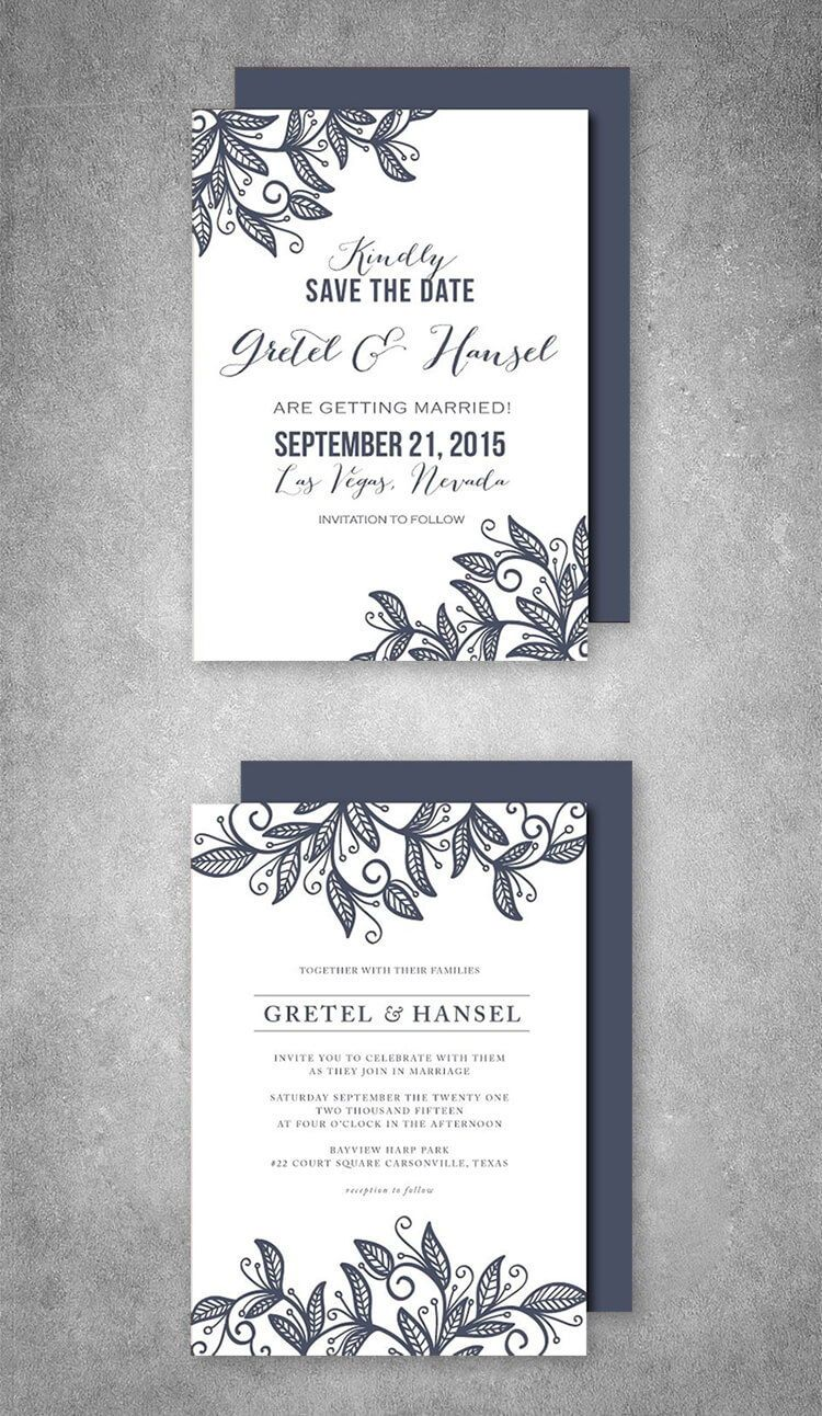 Wedding Invitation Suite leaves in 2018 | Wedding Invitations ...