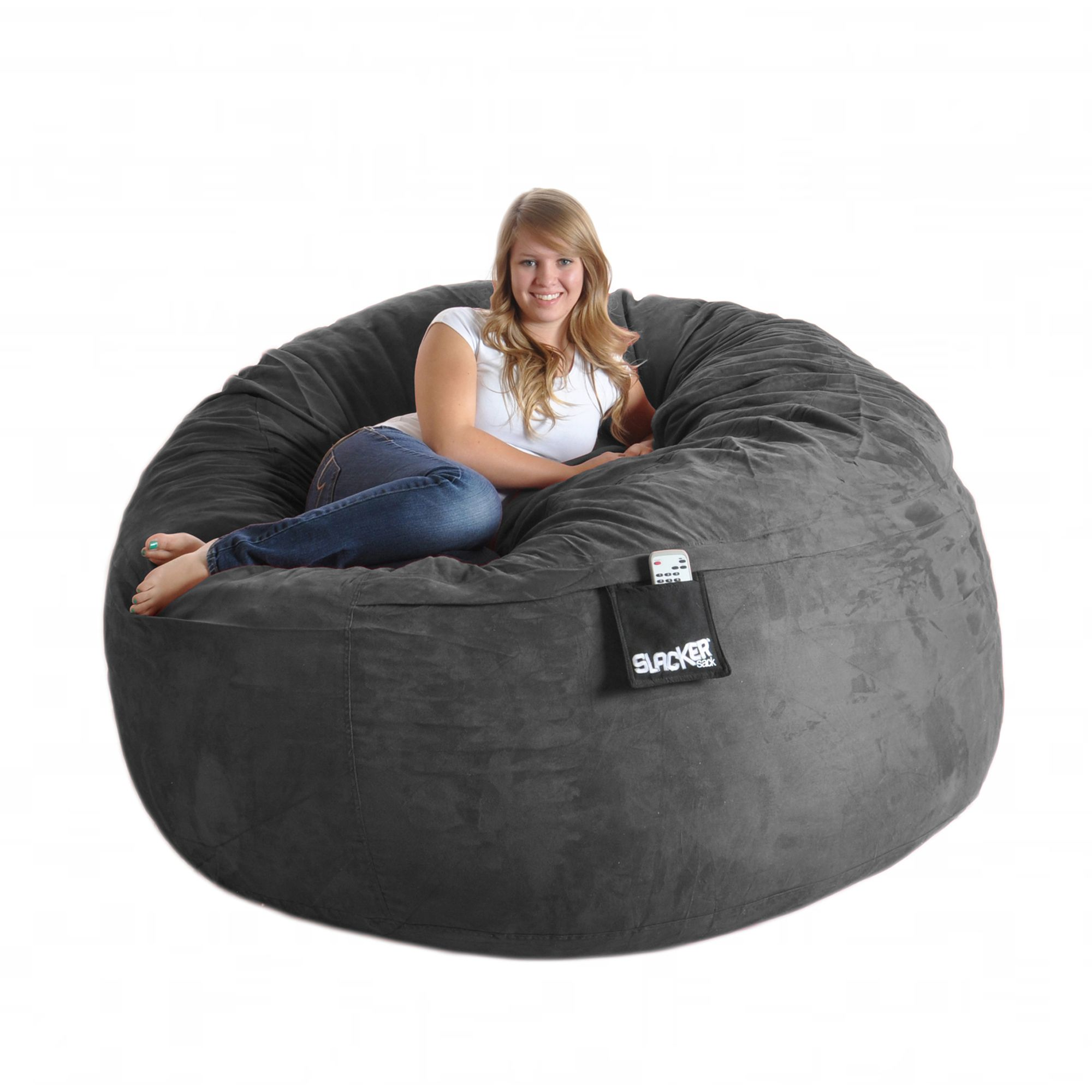 Curl up in fort or lie back for a nap on this grey microfiber and