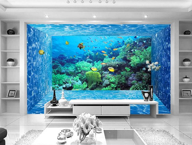 tapisserie papier peint 3d fond marin effet aquarium sur mesure papier peint 3d fond marin. Black Bedroom Furniture Sets. Home Design Ideas