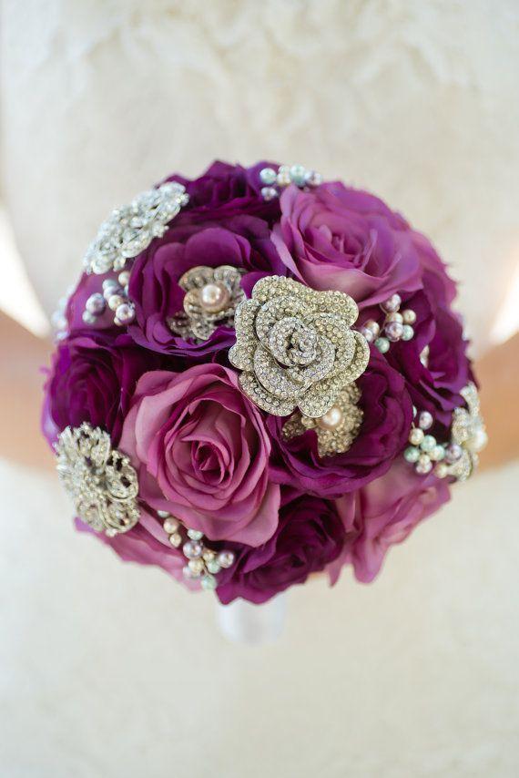 Custom Purple Rose Brooch Bouquet - Silk Flower Bridal Bouquet ...