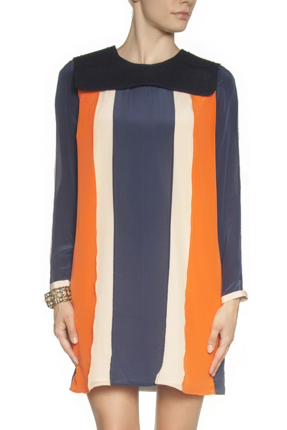 Carrie Color-Block Silk-Crepe Dress: The simple silhouette of the 'Carrie' dress ensures the color-block design stays in focus. This piece will work day or night - simply swap flats for heels.
