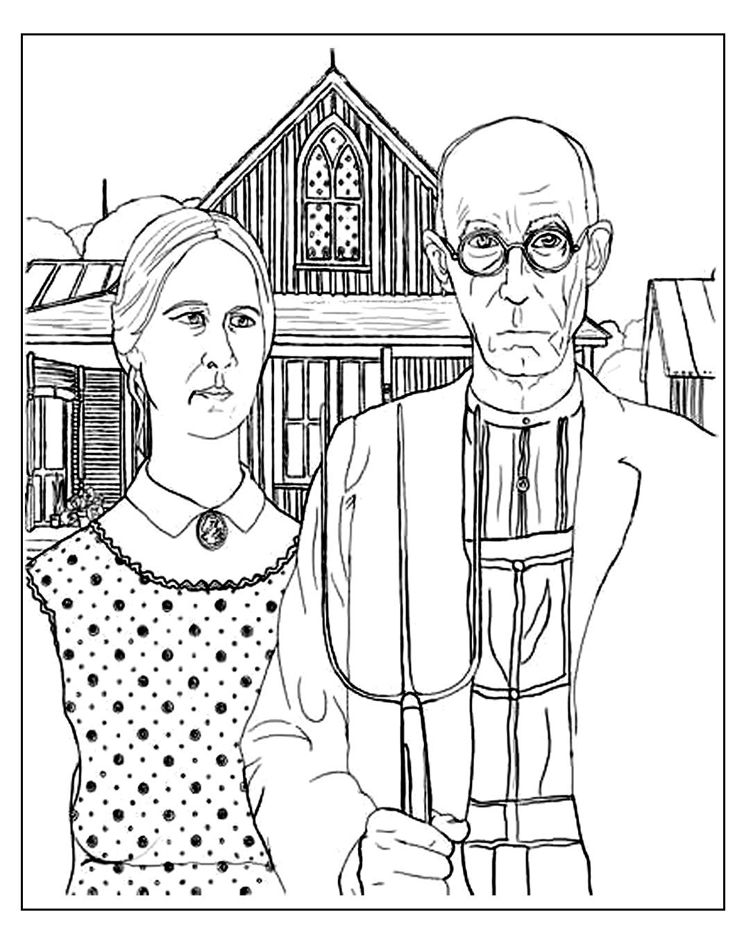 Free Coloring Page Coloring Adult Grant Wood American