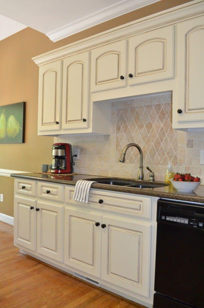 Kitchen Tour   Glazed kitchen cabinets, Off white kitchen ...