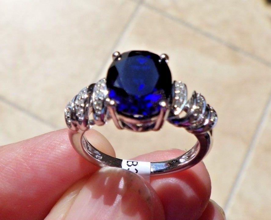 2.25ct Blue Sapphire and Diamond Ring in Sterling Silver #WithDiamondsGemstones