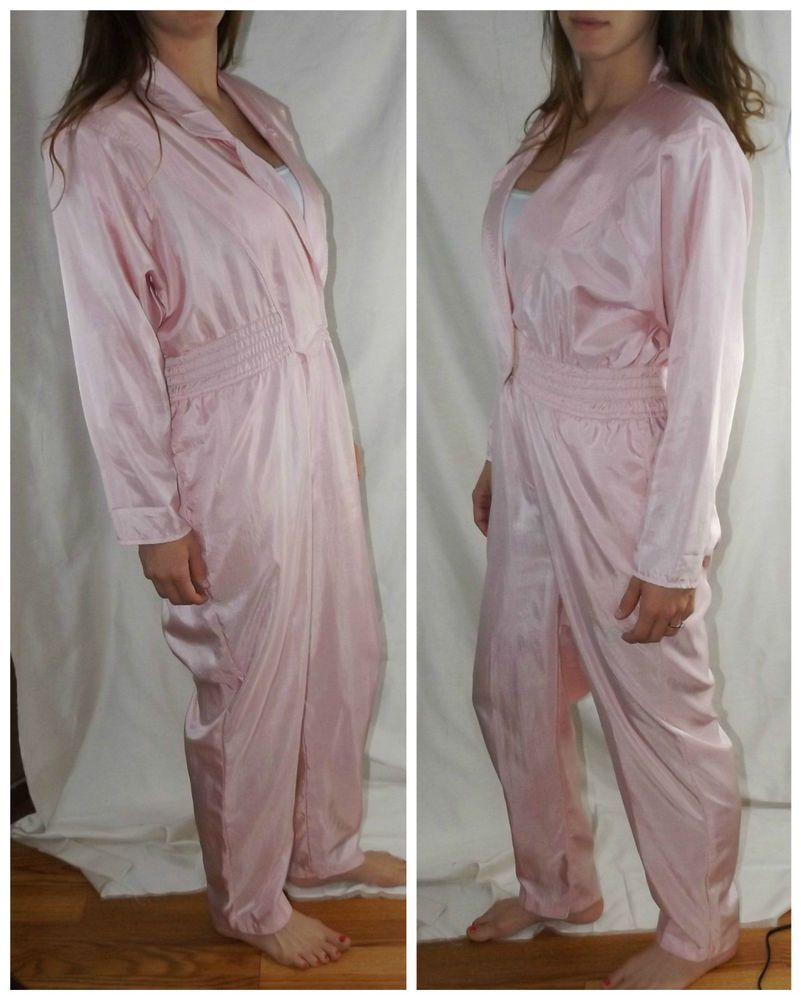 80s Vintage Kitten Pink Jumpsuit One Piece Track Suit Jumpsuit Padded Shoulder Pink Jumpsuit Tracksuit Pantsuit