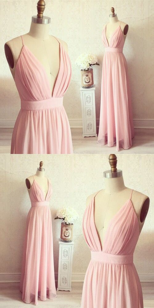 Gorgeous A-line Straps Pink Long Prom Dress Evening Dress from ...