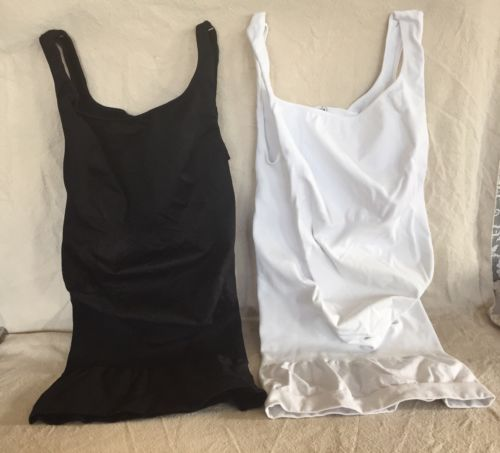 2 BLANQI BODYSTYLER (1 Black & 1 White) SEAMLESS MATERNITY SUPPORT TANK Medium