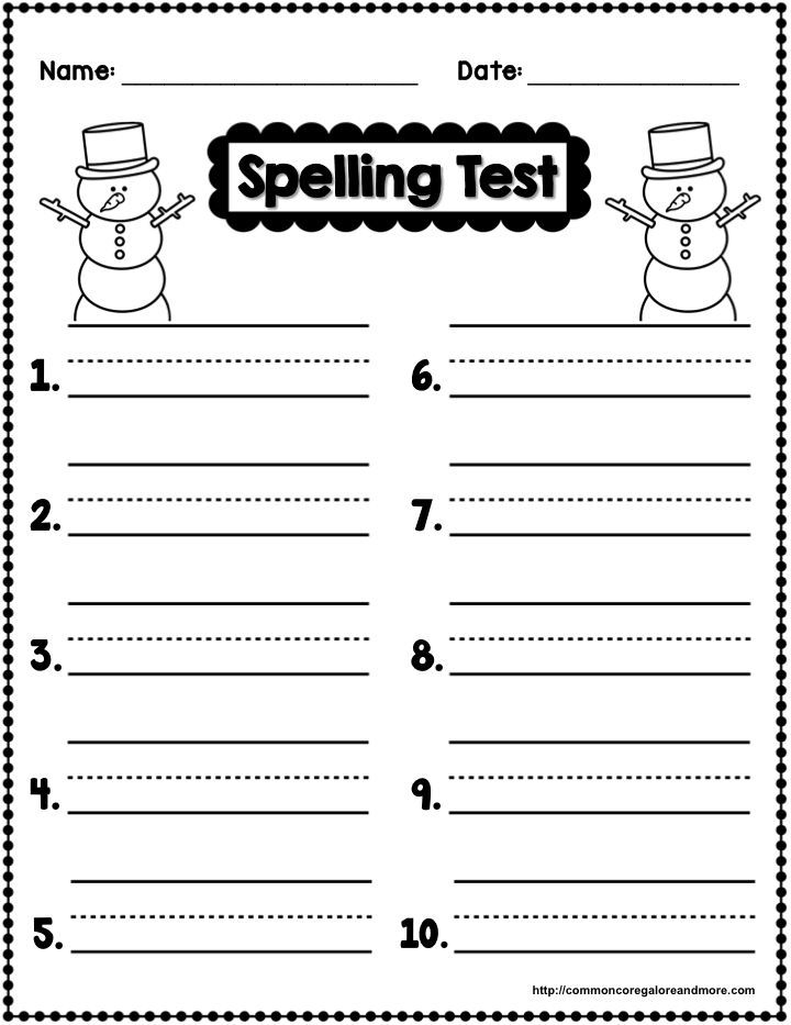 Freebie Winter Themed Spelling Test Template  Secondgradesquad