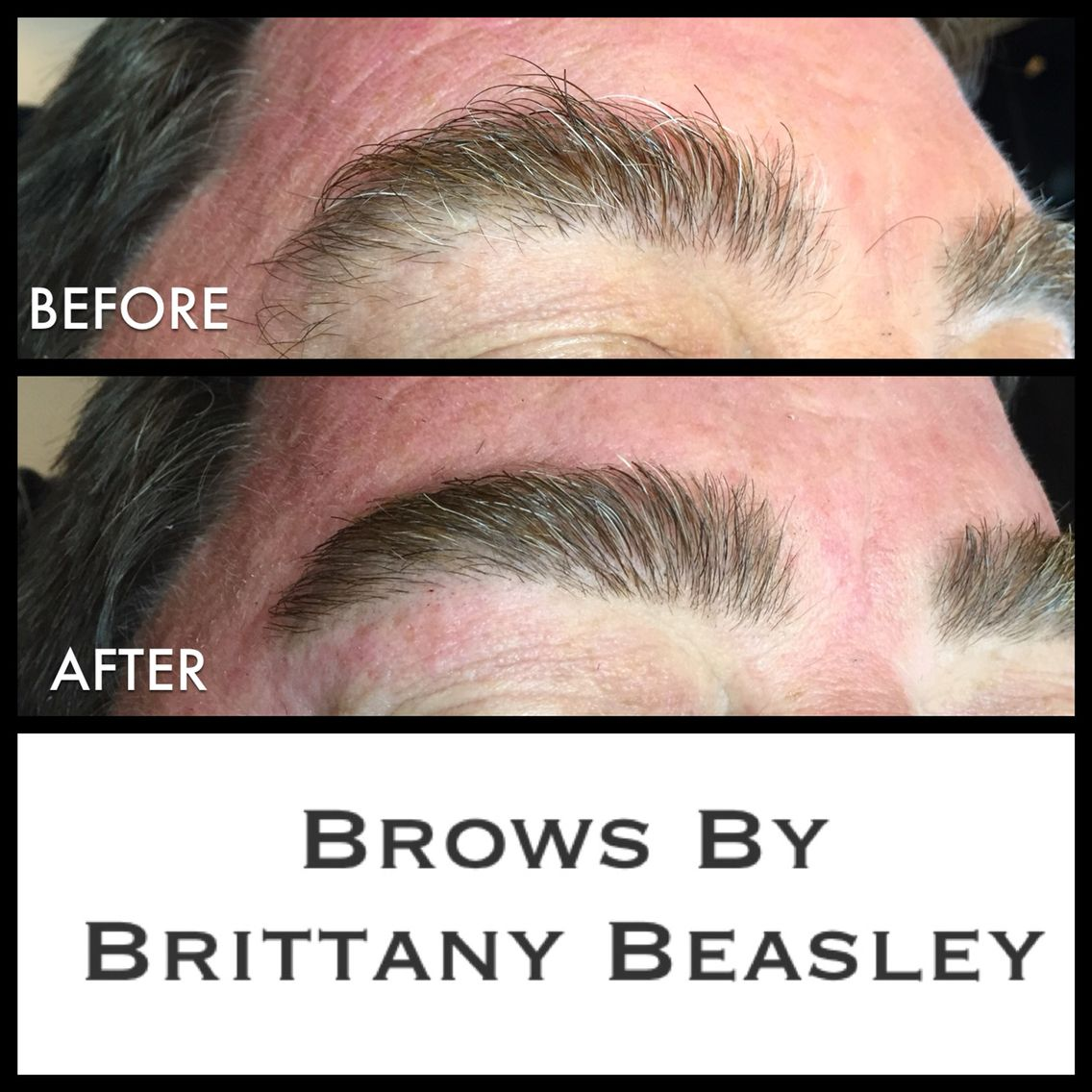 Guys need some brow shaping too am I right? He got the works: brow tint, wax, trim, and tweeze.