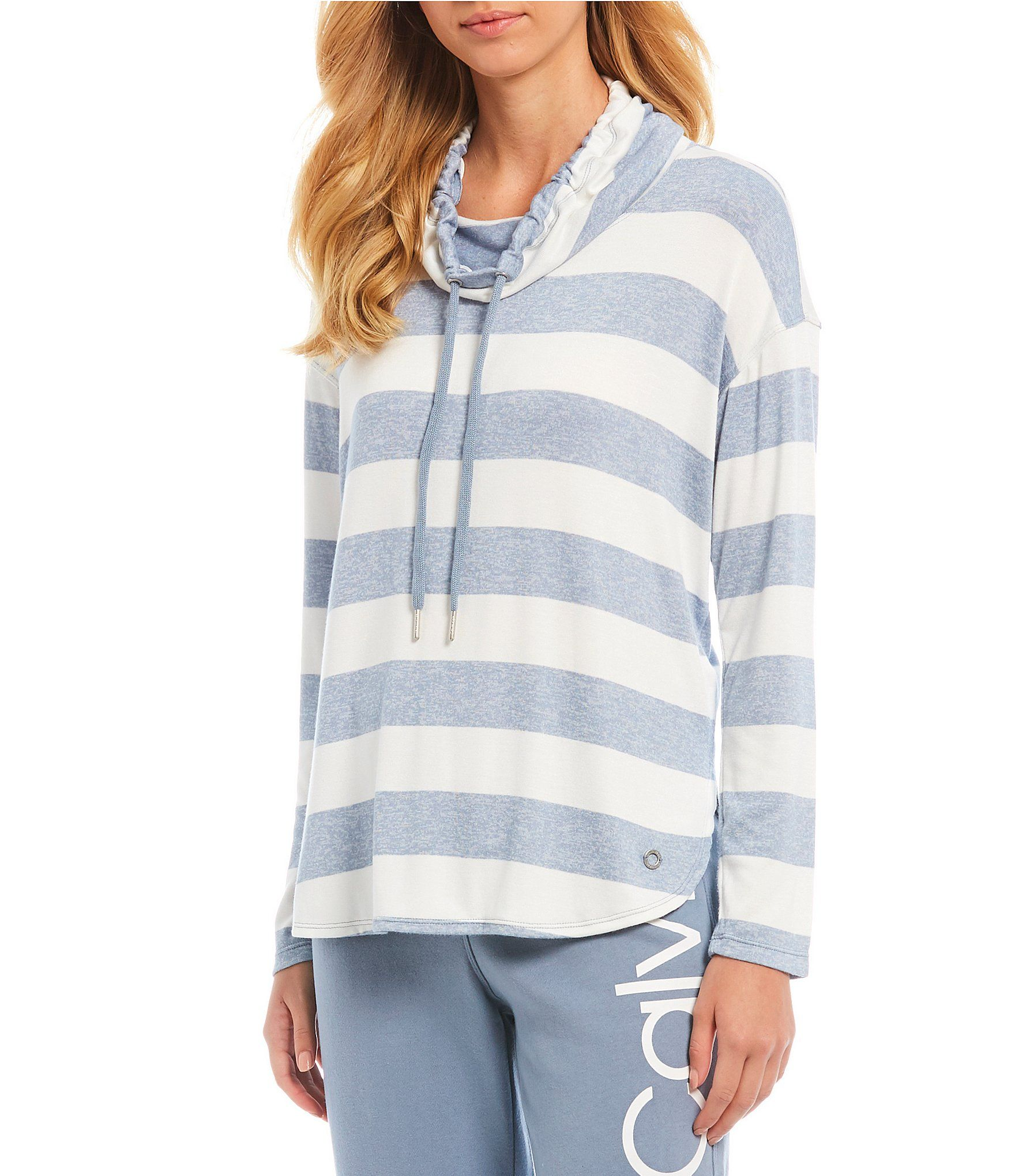 Calvin Klein Performance Rugby Stripe Long Sleeve Cowl Neck Pullover Top | Dillard's #stripedlongsleevetops