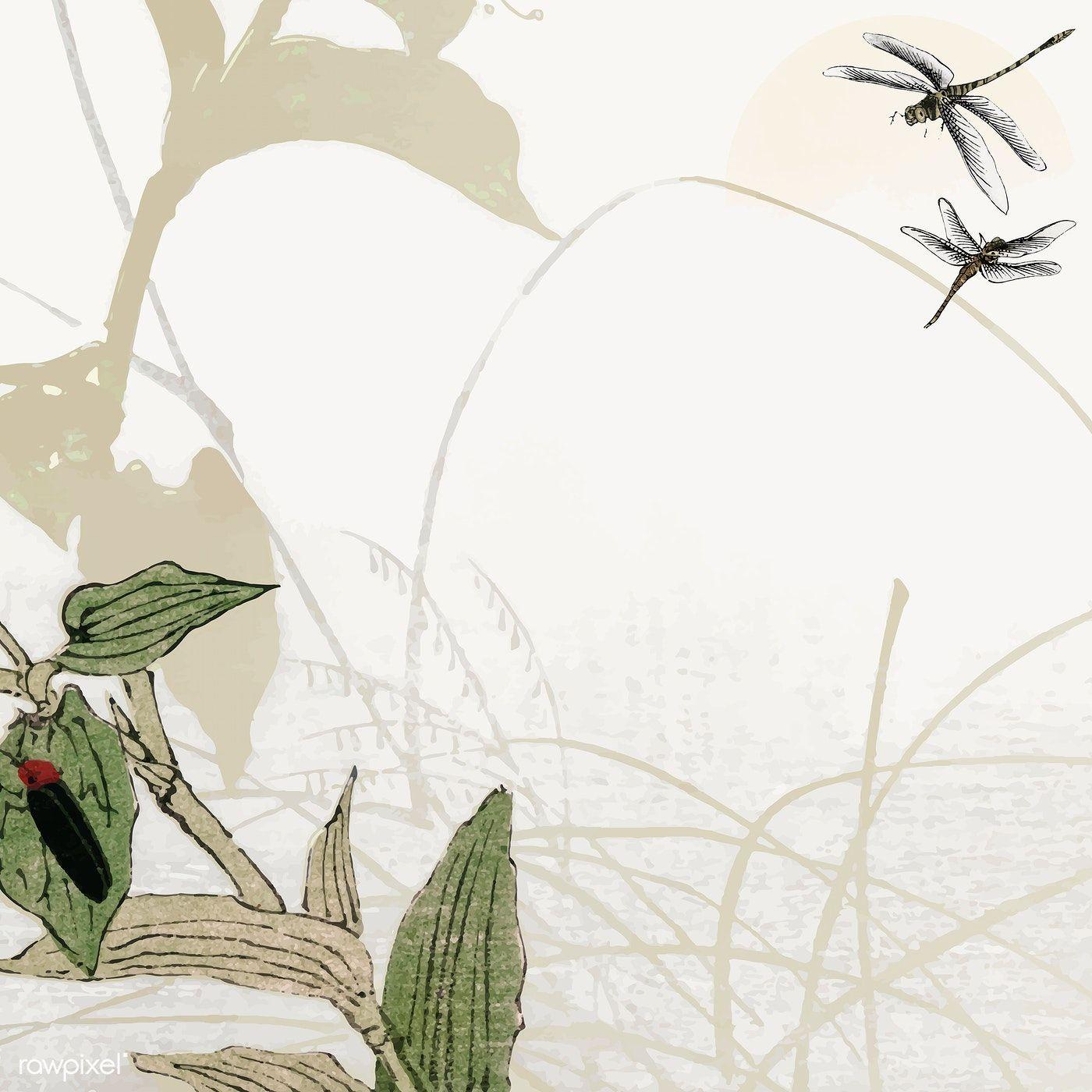 Download premium image of Leafy dragonfly frame design