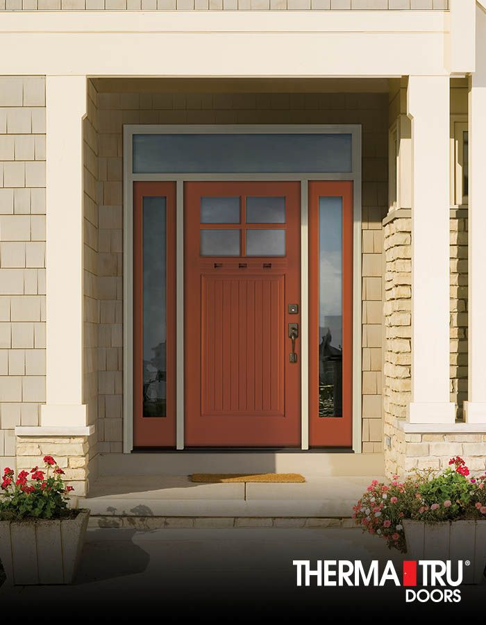 Therma-Tru Classic-Craft Canvas Collection fiberglass door and sidelites painted Emotional Door sidelites and transom include energy-efficient Low-E glass. & Therma-Tru Classic-Craft Canvas Collection fiberglass door and ...