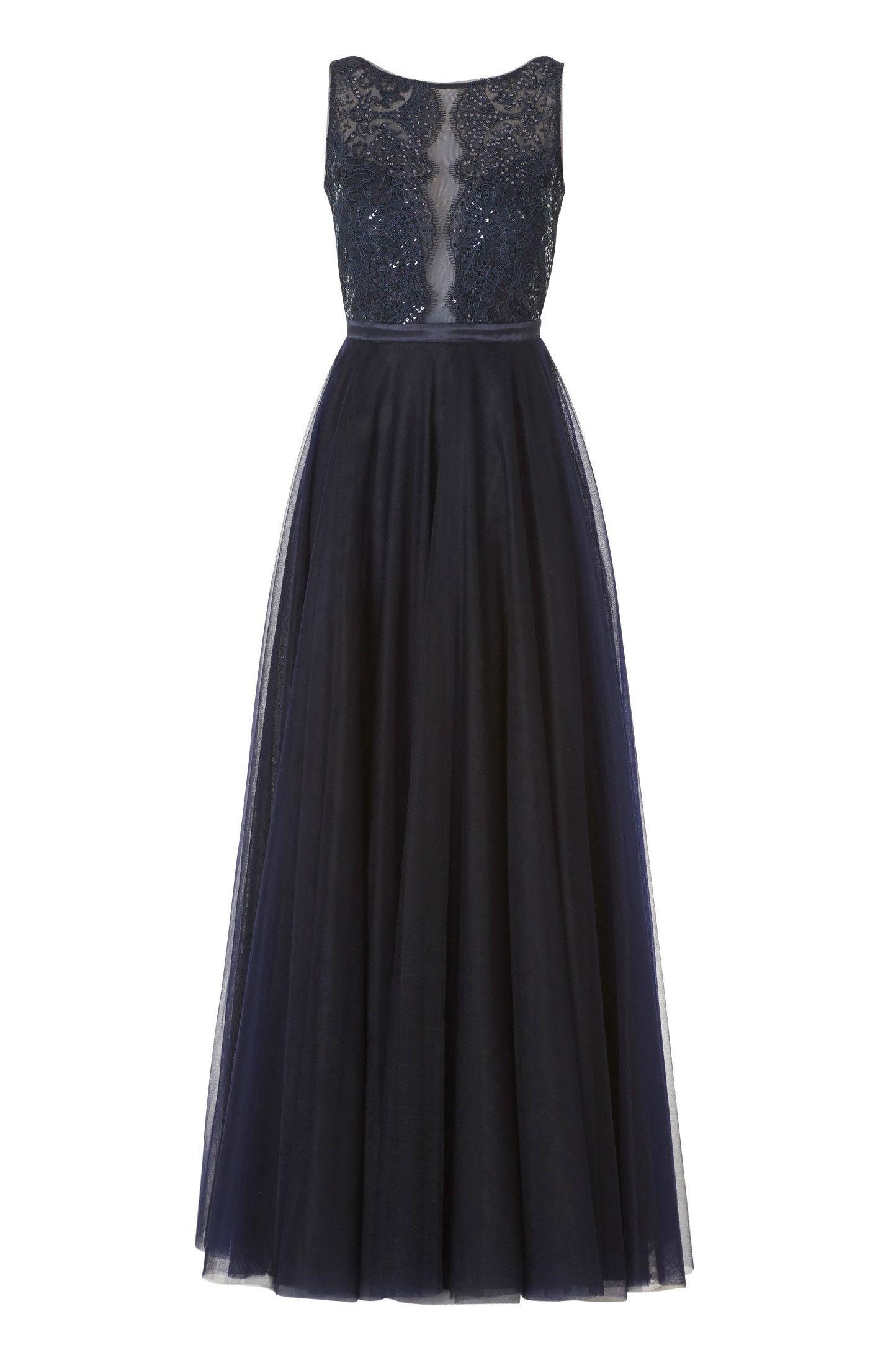 Langes Kleid Dunkelblau Tüll Spitze Vera Mont in 14  Abendkleid