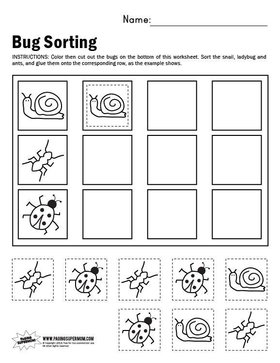 bug sorting worksheet kids crafts spring and easter. Black Bedroom Furniture Sets. Home Design Ideas