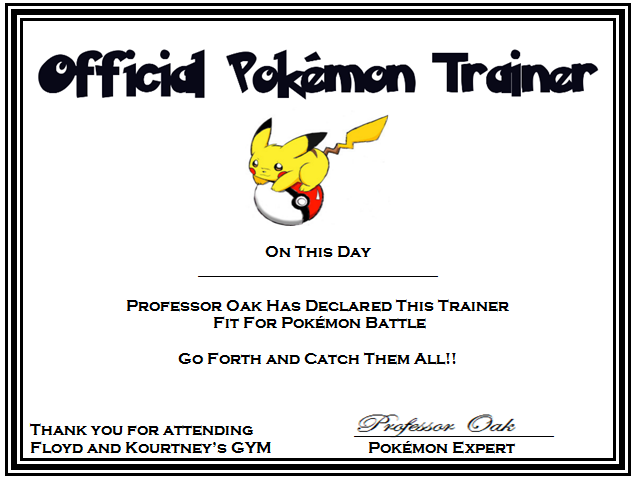 Certificates For Pokemon Please Feel Free To Copy And Use For Personal Use Pokemon Party Pokemon Pokemon Birthday Party