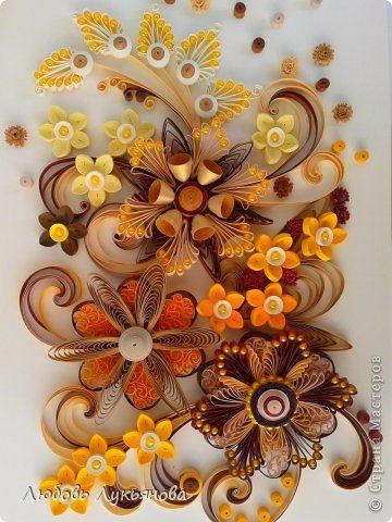 Картина панно рисунок 8 марта Квиллинг цветочная композиция Бумажные полосы Бусины фото 7