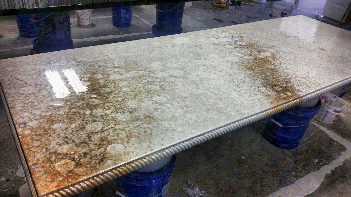 Stone Epoxy Countertops : White marble countertop epoxy with rope edge diamond