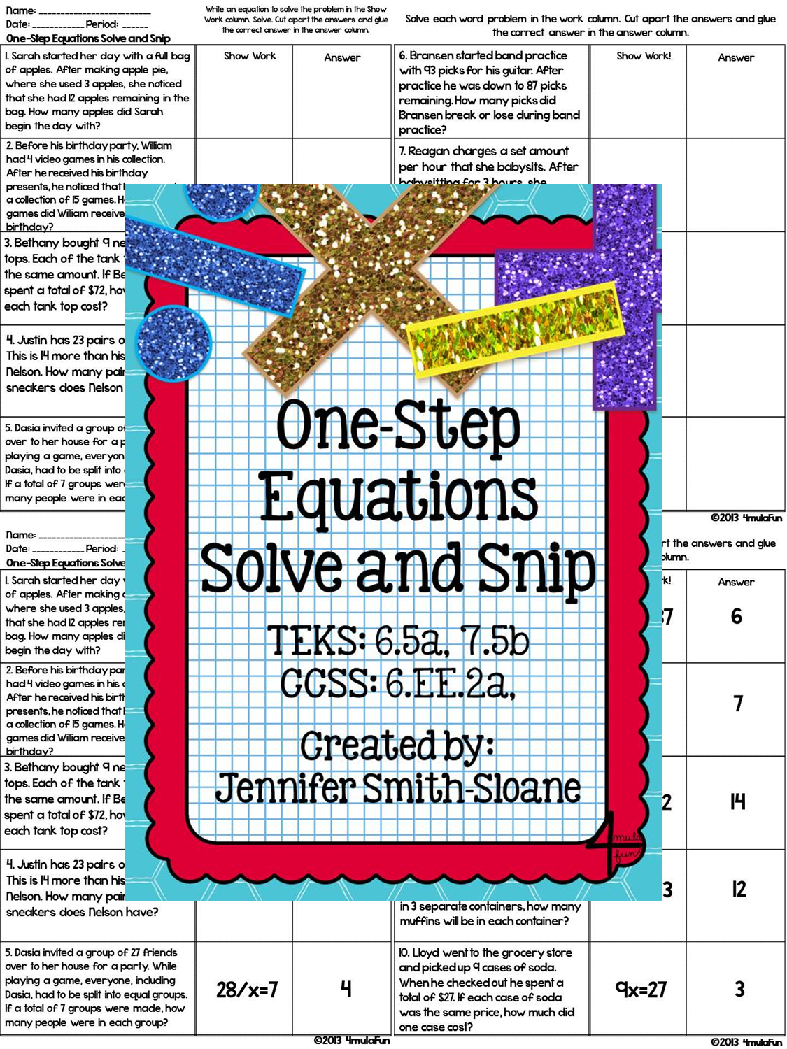 One Step Equations Solve And Snip Interactive Word