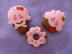 Icecream, donut, cupcake  Glace, donut et cupcake en feutrine  Helado, donut y cupcake en fieltro