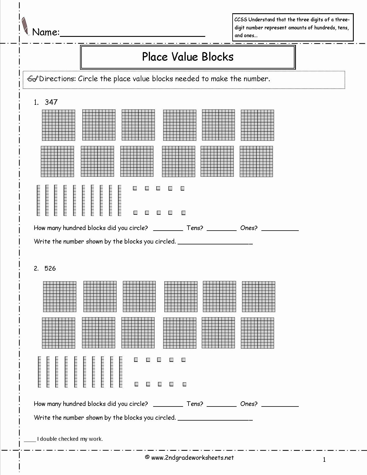 Ones Tens Hundreds Worksheet New 2nd Grade Math Mon Core