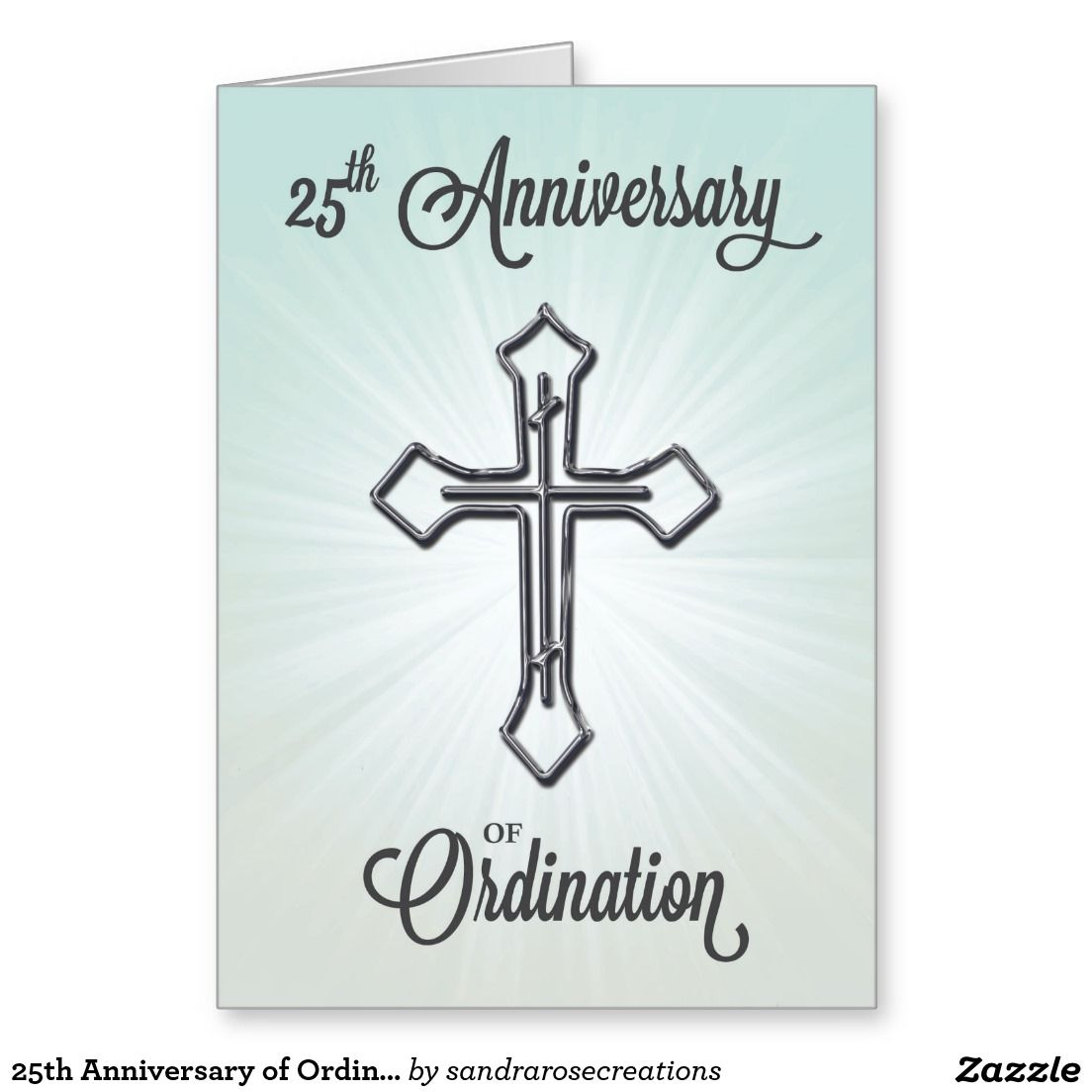 25th Anniversary Of Ordination Silver Cross Card Religious Life