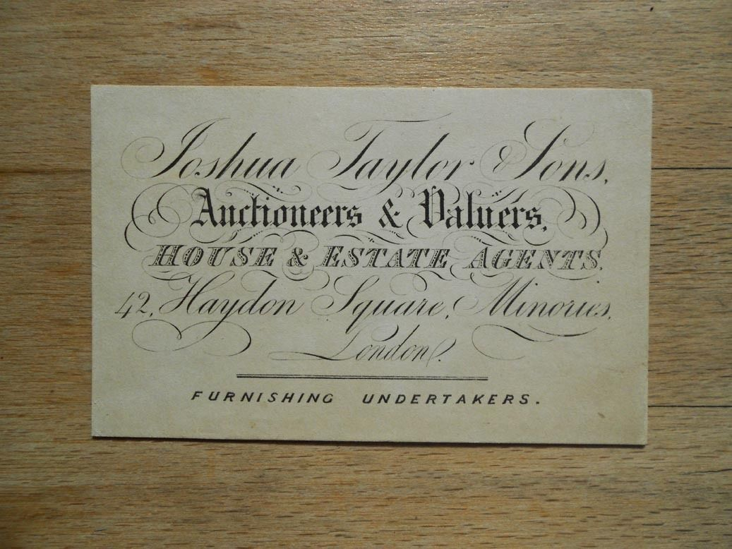 Antique business card Joshua Taylor, Auctioneer, London, 19thC ...