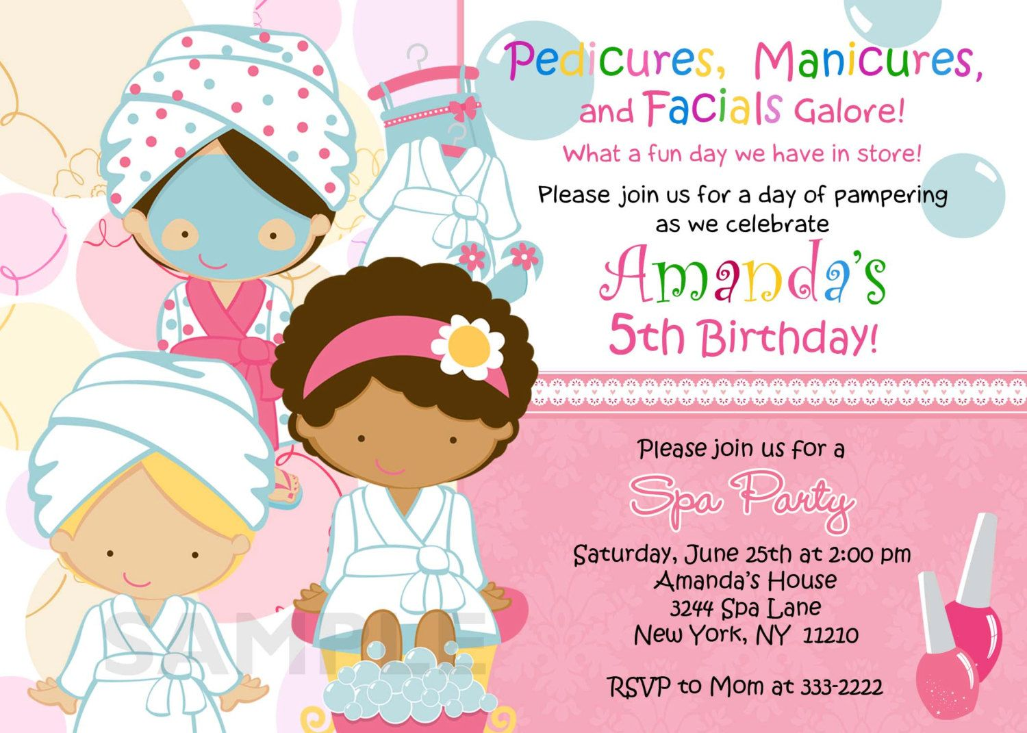 Birthday Invitation Personalized Spa Mani Pedi Birthday Party – Printable Spa Party Invitations