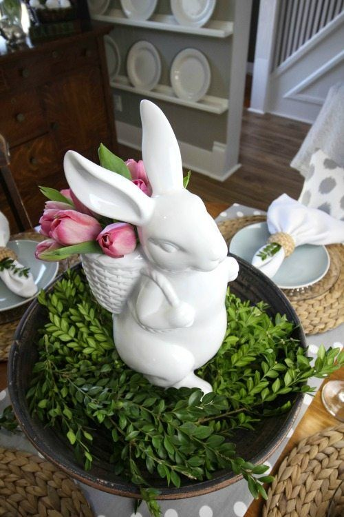 Farmhouse style Easter decorating ideas. Simple, fresh, and ...