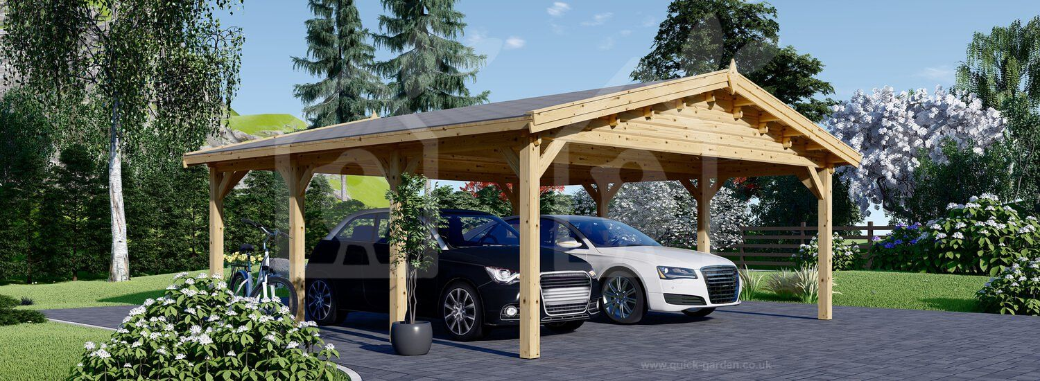Double Wooden Carport CLASSIC 6m x 6m (20x20 ft) in 2020