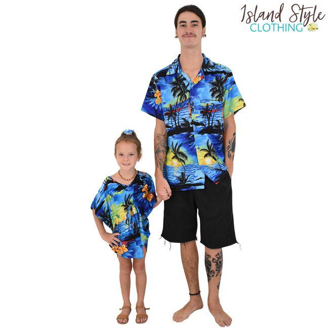 63f93dafca Blue Sunset Tropical Fun - Father & Daughter Matching Party Clothing. Mens  Hawaiian Shirt & Girls Beach Cover up. #sunsetparty #matchymatchy  #hawaiianshirt ...
