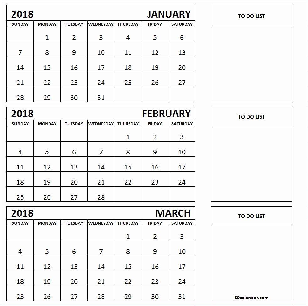 New 40 Examples Three Month Calendar Printable 2019