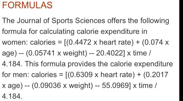Formula To Determine Calories Burned While On Elliptical Calorie Expenditure Formulas Require Your Heart Rate In Bea Science Journal Burn Calories Heart Rate