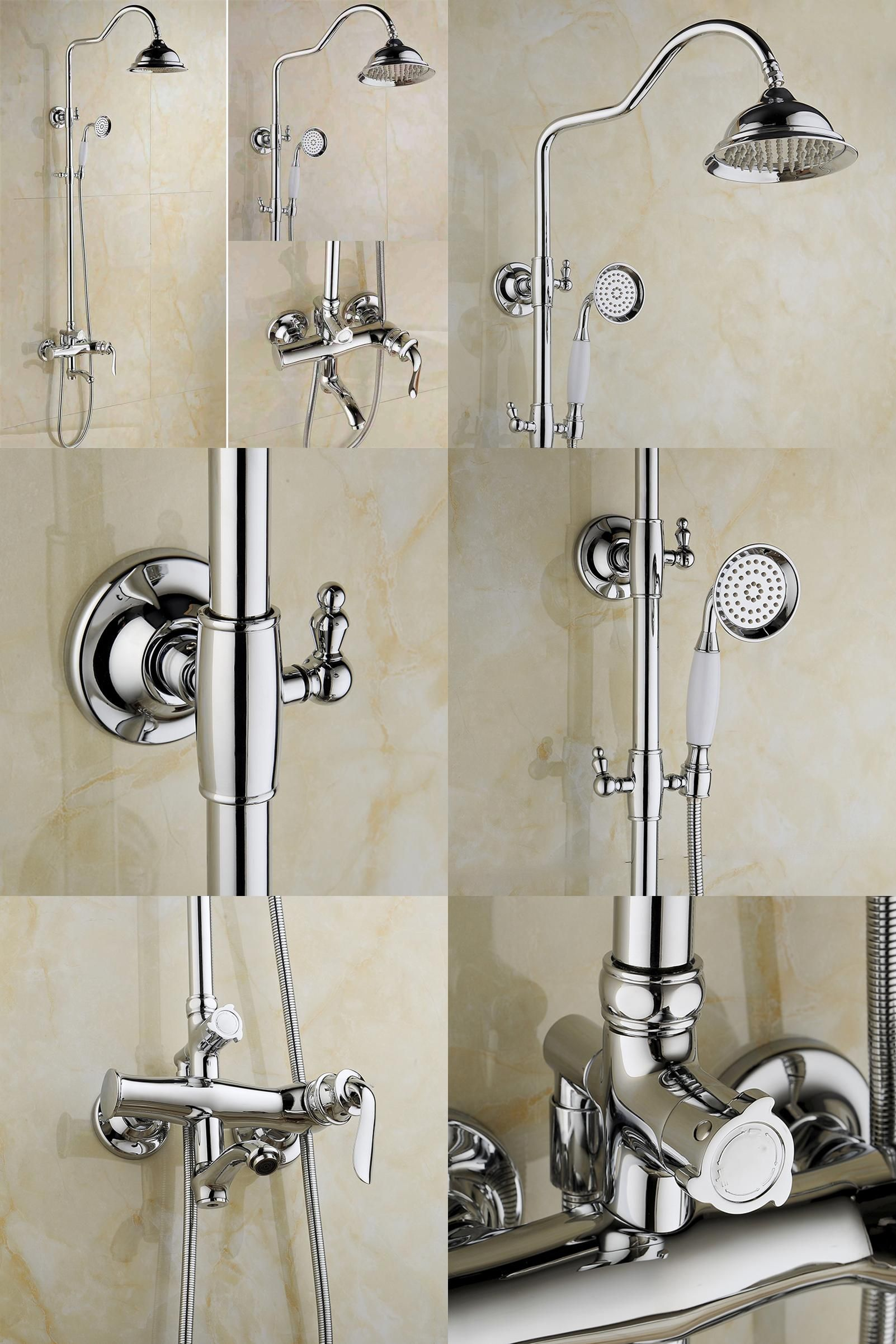 Visit to Buy] FLG Bathroom Shower Set, Brass Chrome Shower Faucet 8 ...