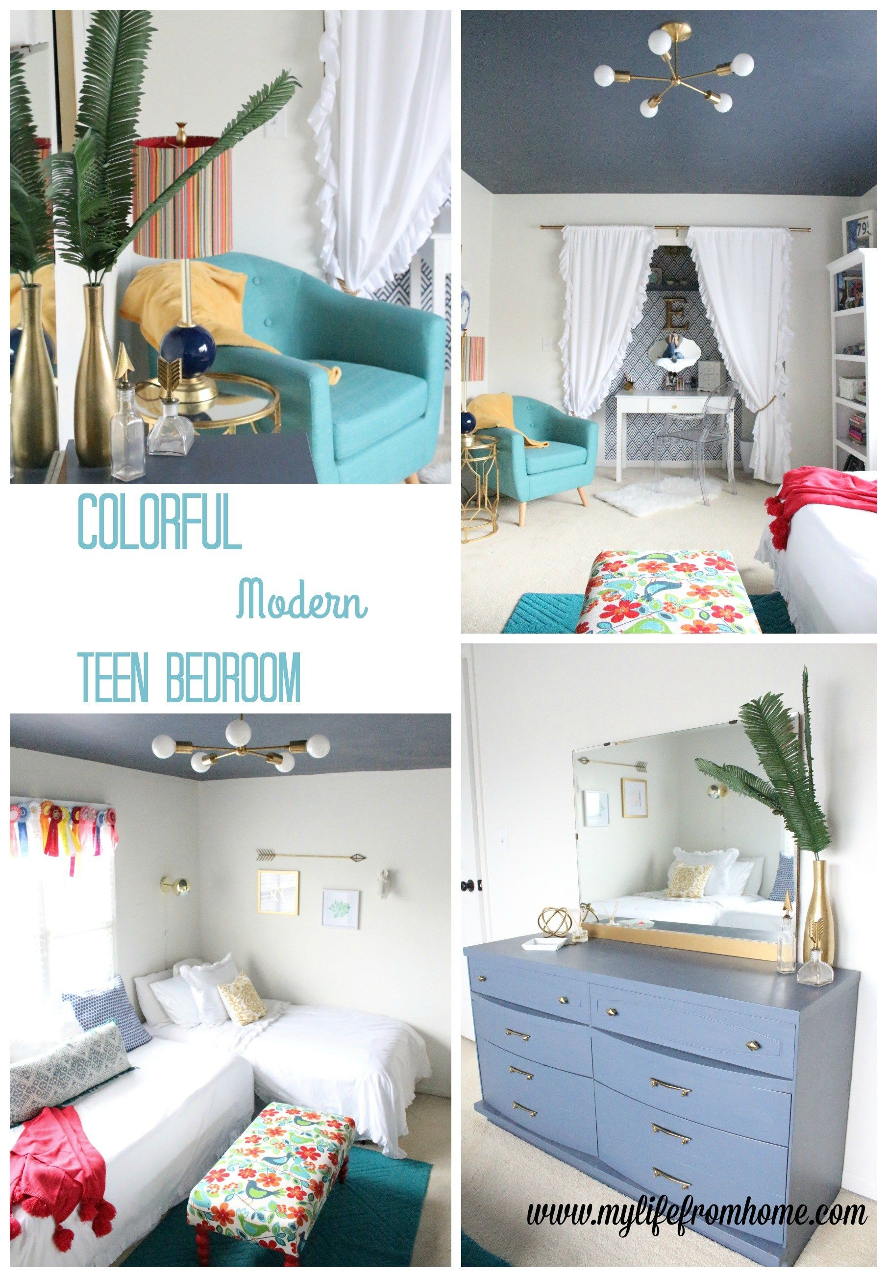Bedroom colorful modern teen bedroom reveal bedroom redo teen bedroom kids bedrooms modern decor color gold decor home decorating bedroom redecorating one