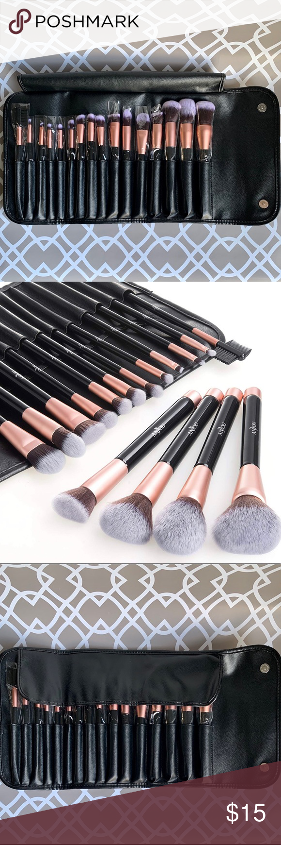 Anjou 16pc Makeup Brush Set Makeup brush set, Makeup