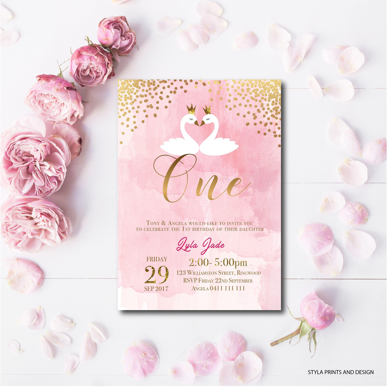 Swan, Princess Swan, Birthday, Christening, Invitations, Gold and ...