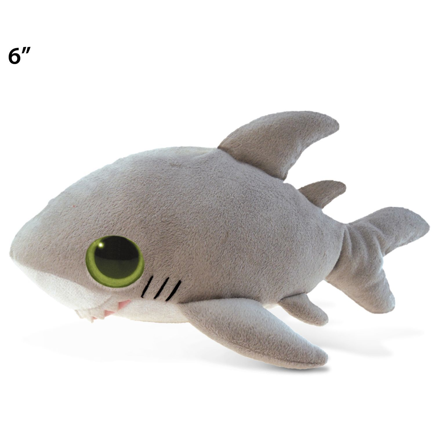 "Puzzled Big Eye 6inch Plush Shark (Product size 6""L x 3"