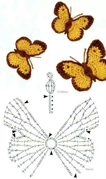 joli papillon | point crochet | Pinterest | Häkeln, Schmetterlinge ...