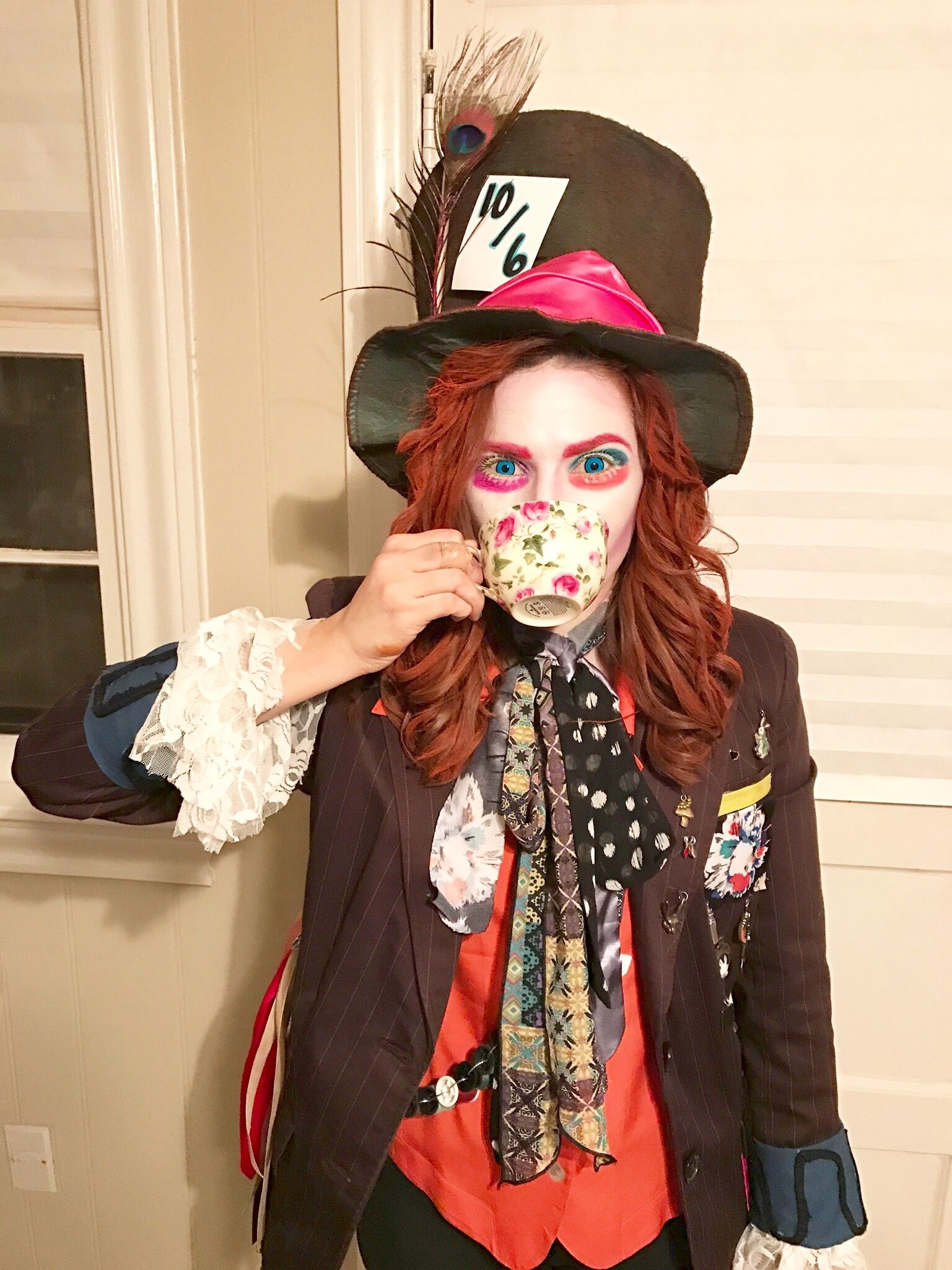 mad hatter costume diy jacket diy hat makeup halloween