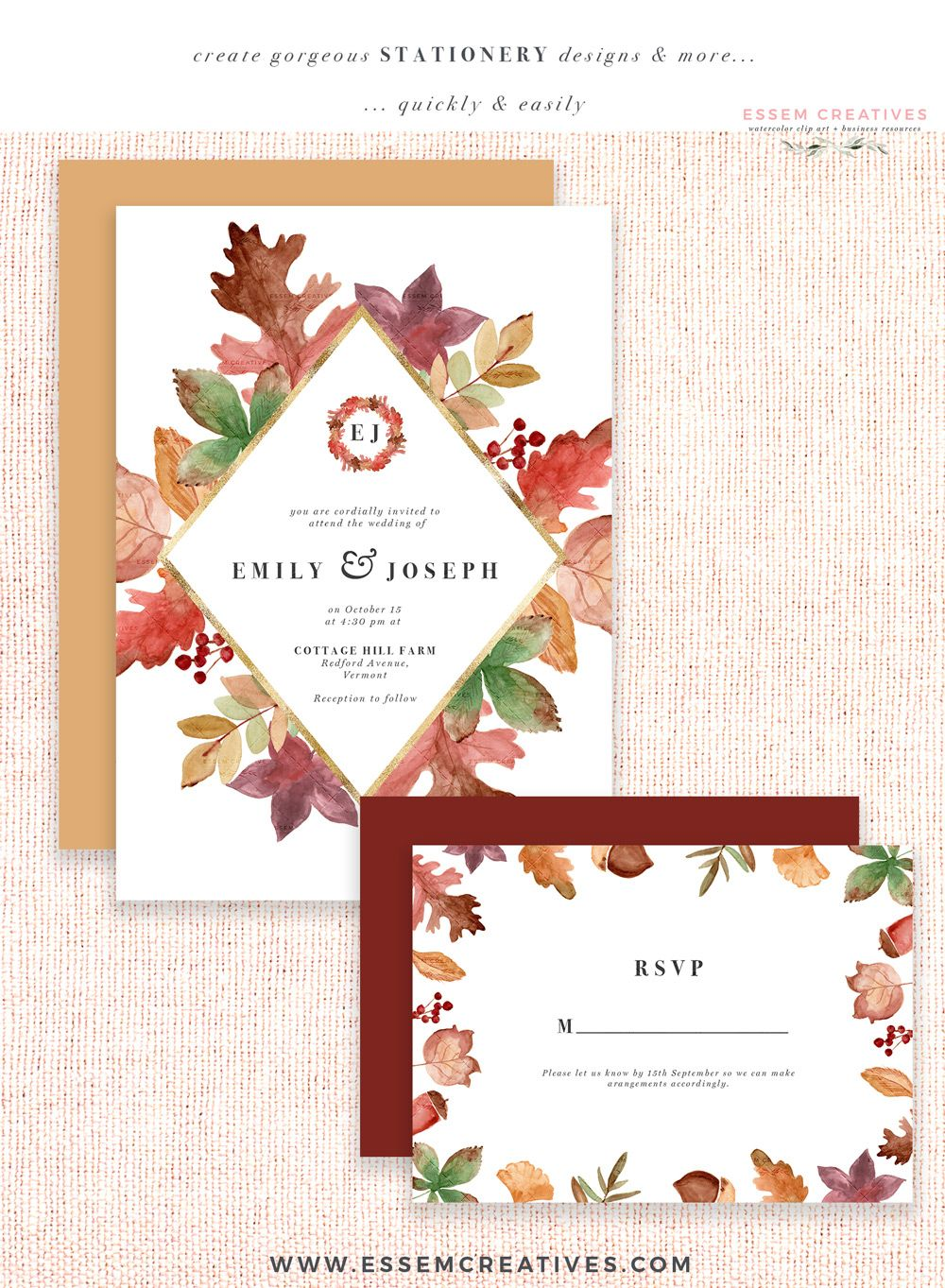 Rustic Fall Watercolor Card Borders With Transparent