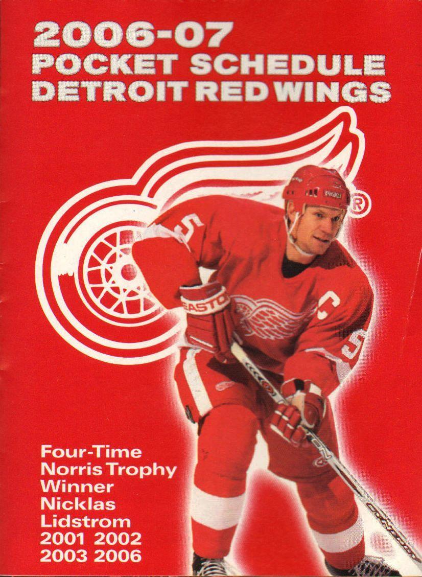 Detroit Red Wings Pocket Season Schedule 20062007