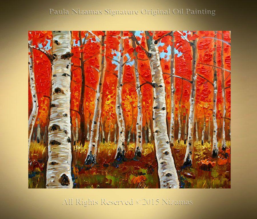 Oil Painting Silver Birch Forest Original por Artcoast en Etsy