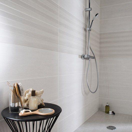 Faïence mur blanc, Lodge l24 x L69 cm salle de bain Pinterest